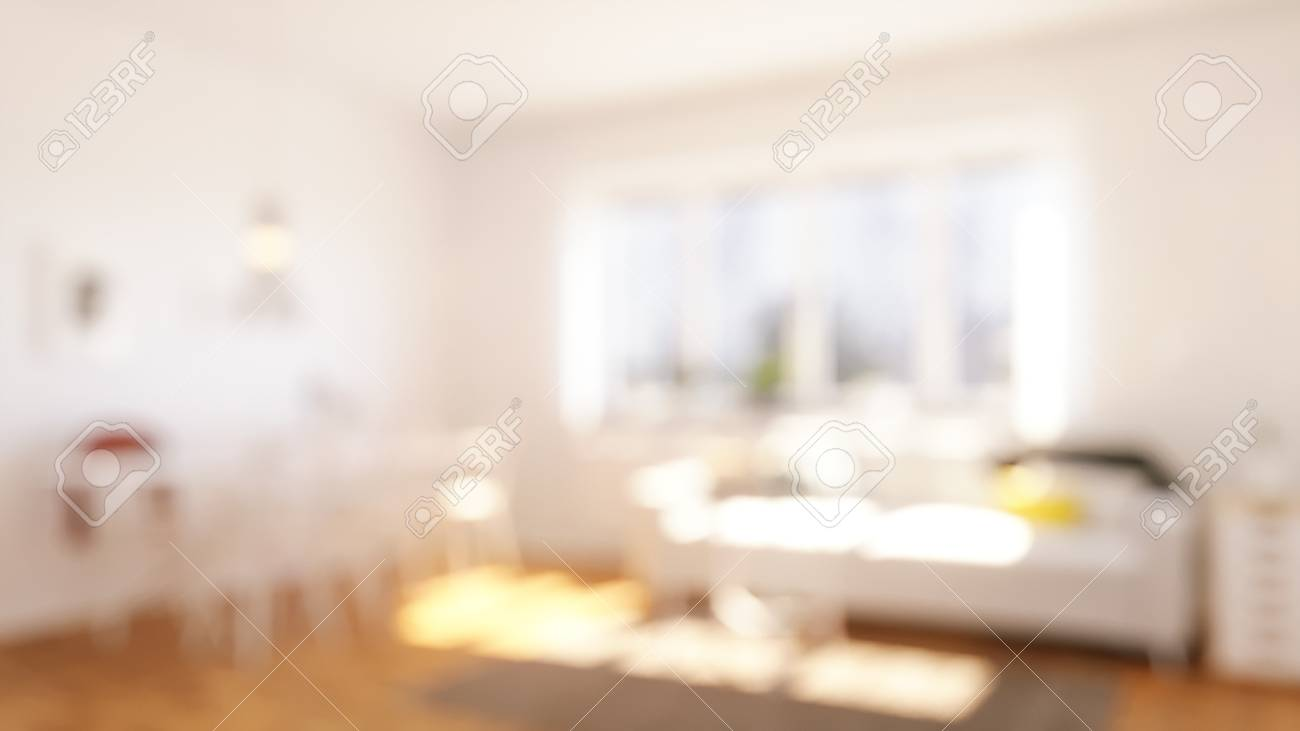 Blurred sunlighting Living Room with Couch and table - 85000835