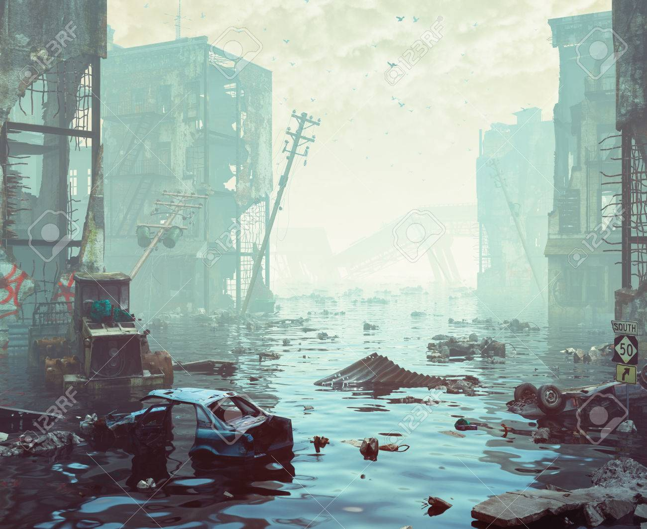 Ruins of the flooding city. Apocalyptic landscape.3d illustration concept - 85707262