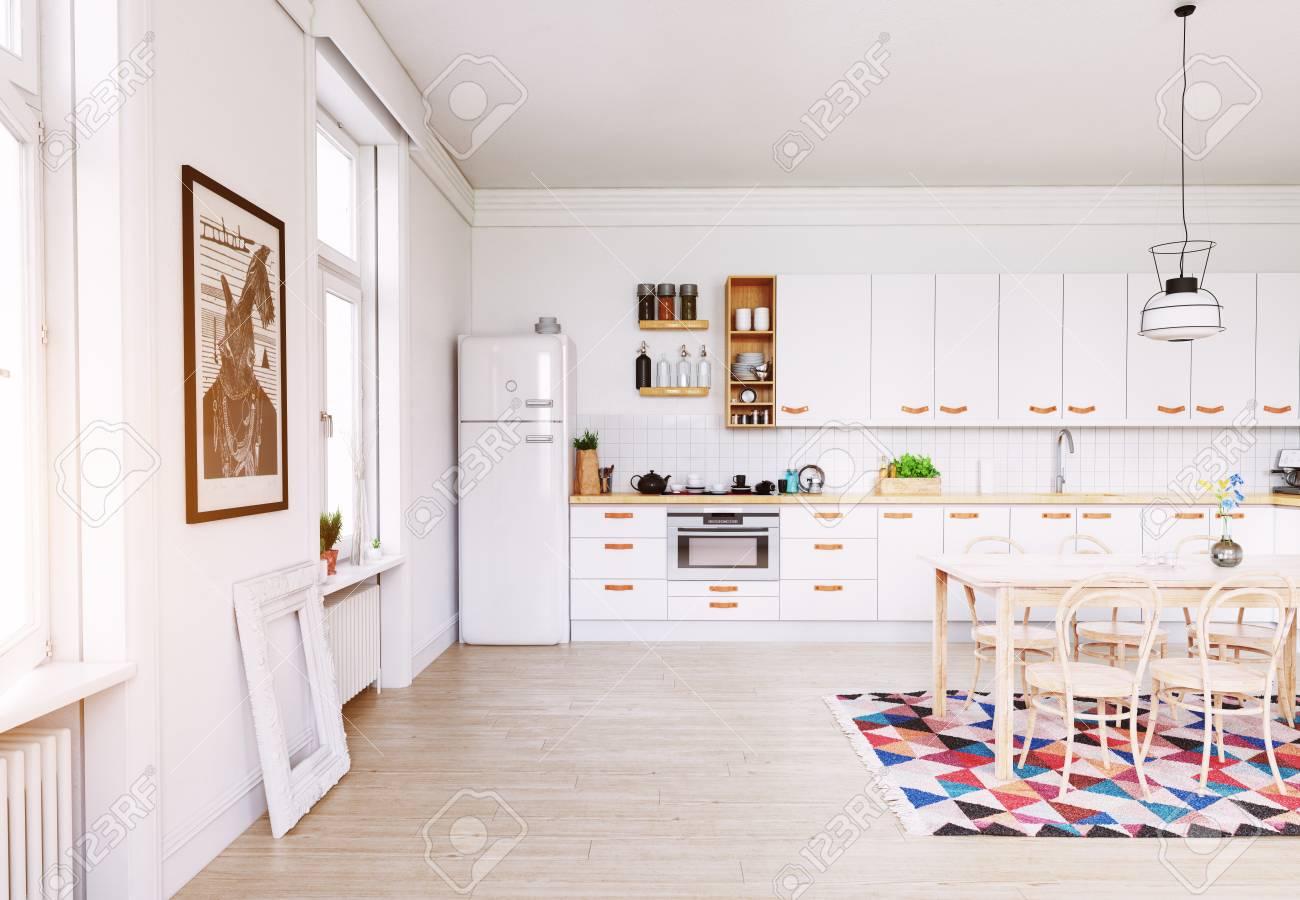 Modern Kitchen Interior Scandinavian Style Design 3d Rendering