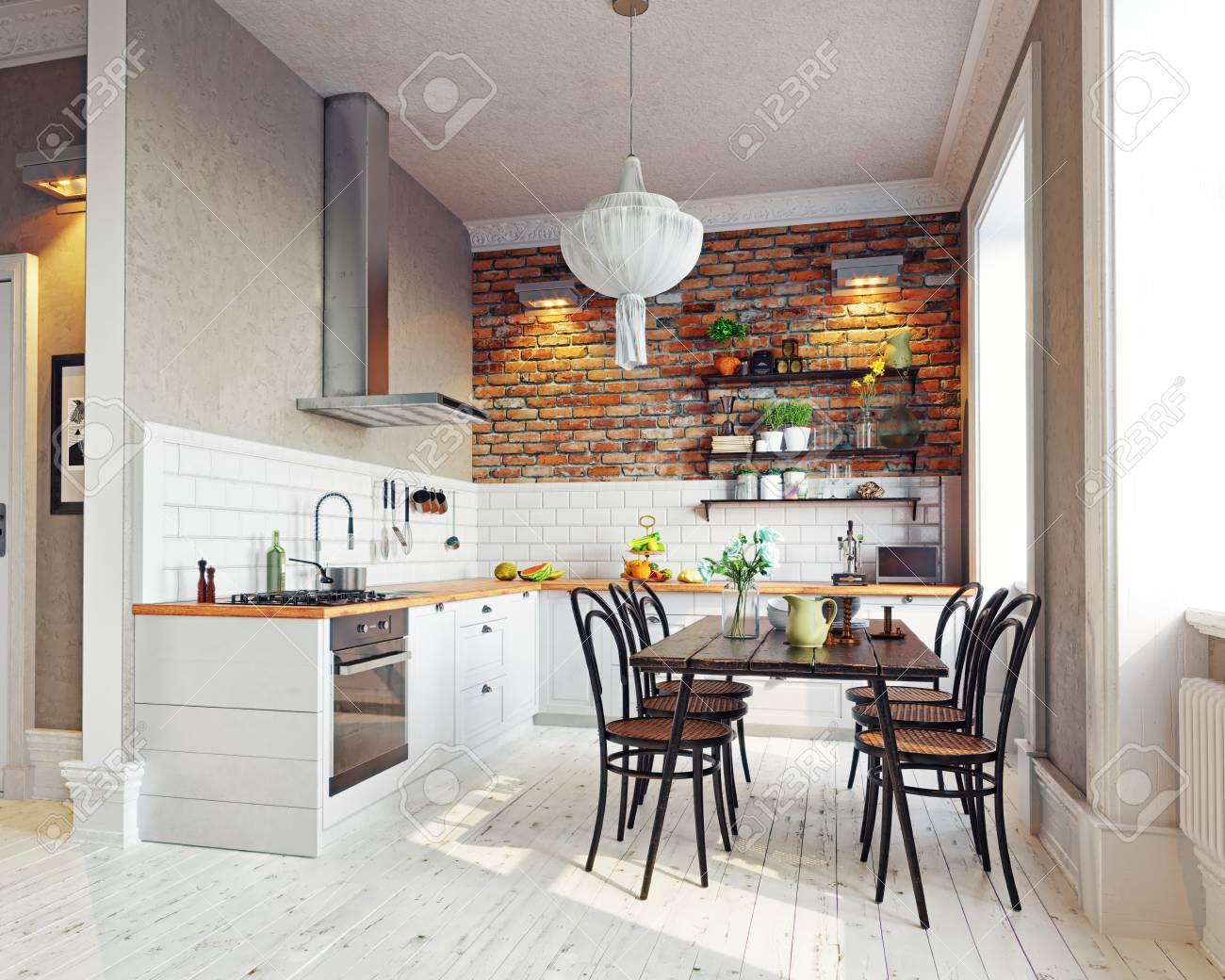Cocina moderna interior. Diseño de estilo escandinavo. Concepto de  representación 3D