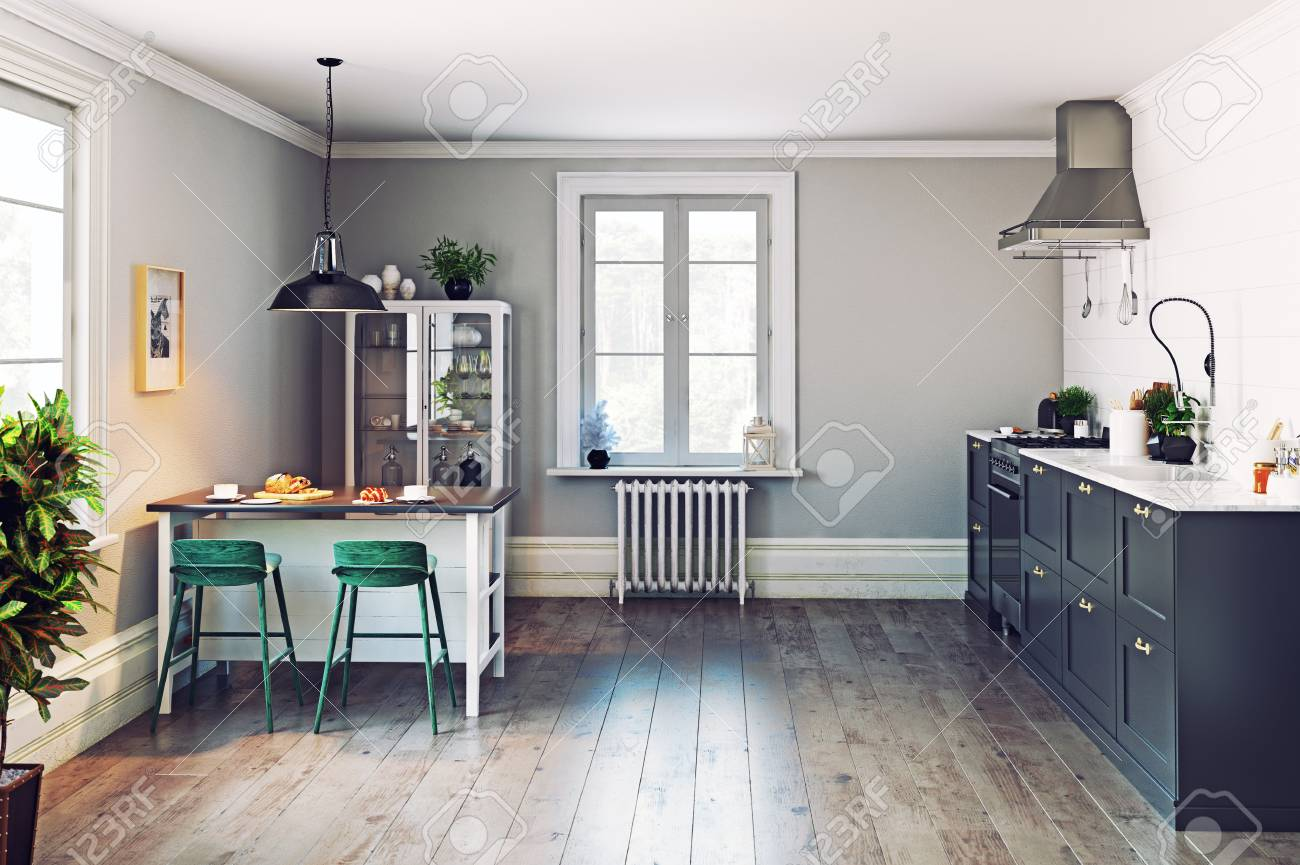 Interieur De Cuisine Moderne Conception De Style Scandinave