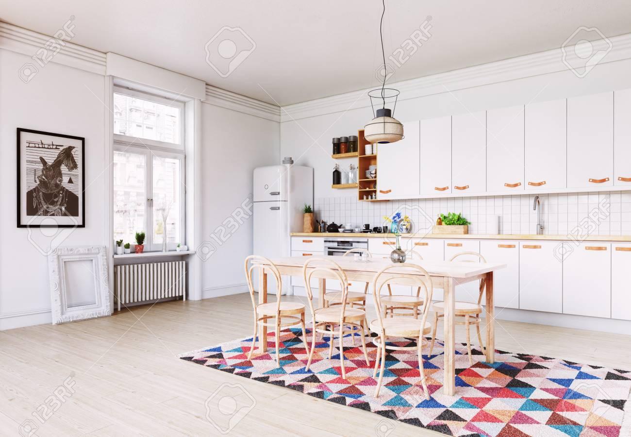 modern kitchen interior. Scandinavian style design. 3d rendering concept - 89943486