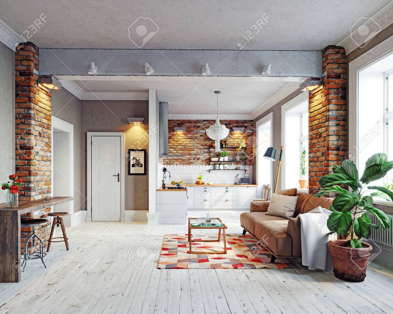 Modern Apartment Interior. Scandinavian Style Design. 3d Rendering ...