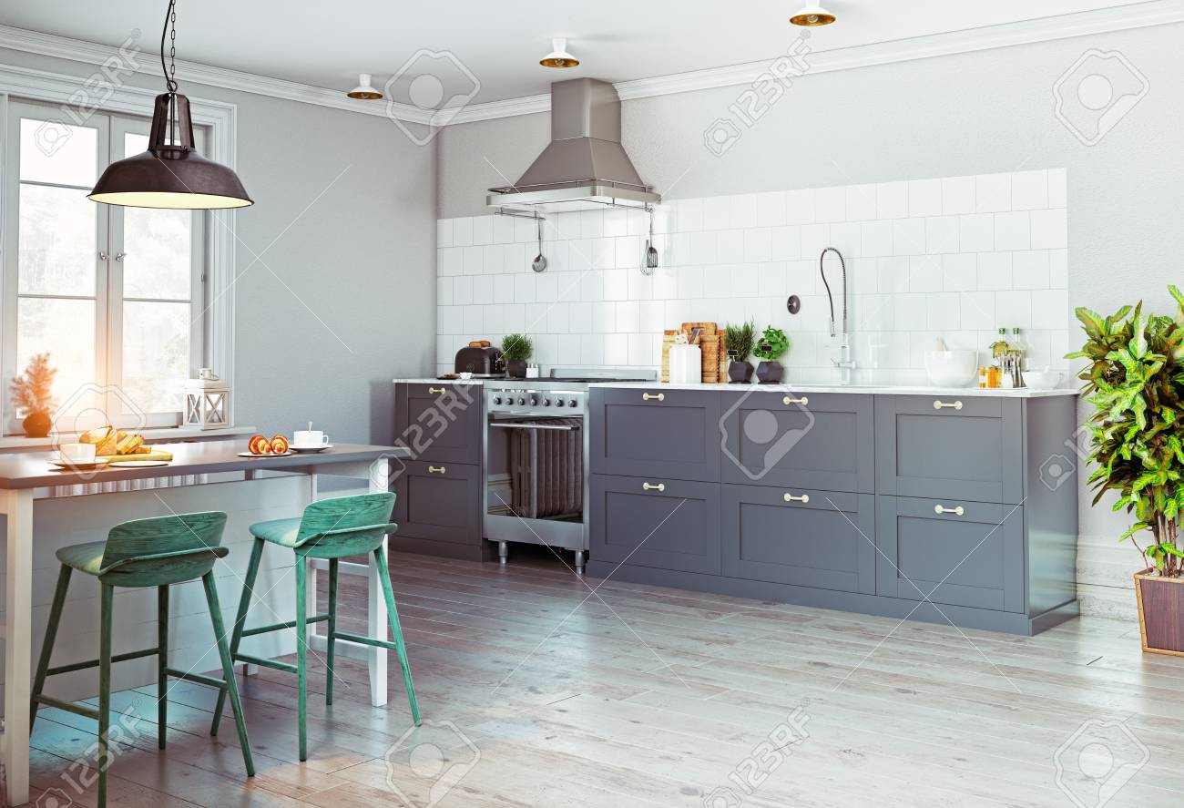 Intérieur de cuisine moderne. Design de style scandinave. Concept de rendu  3d
