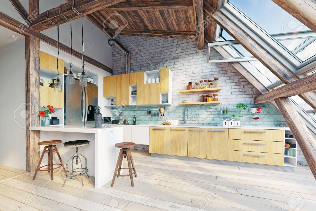 modern attic kitchen interior. 3d rendering concept - 89851238