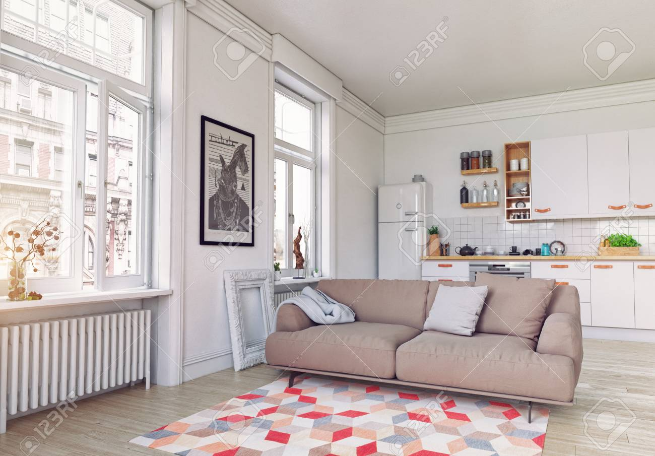 Moderne Kuche Interieur Skandinavisches Design 3d Rendering