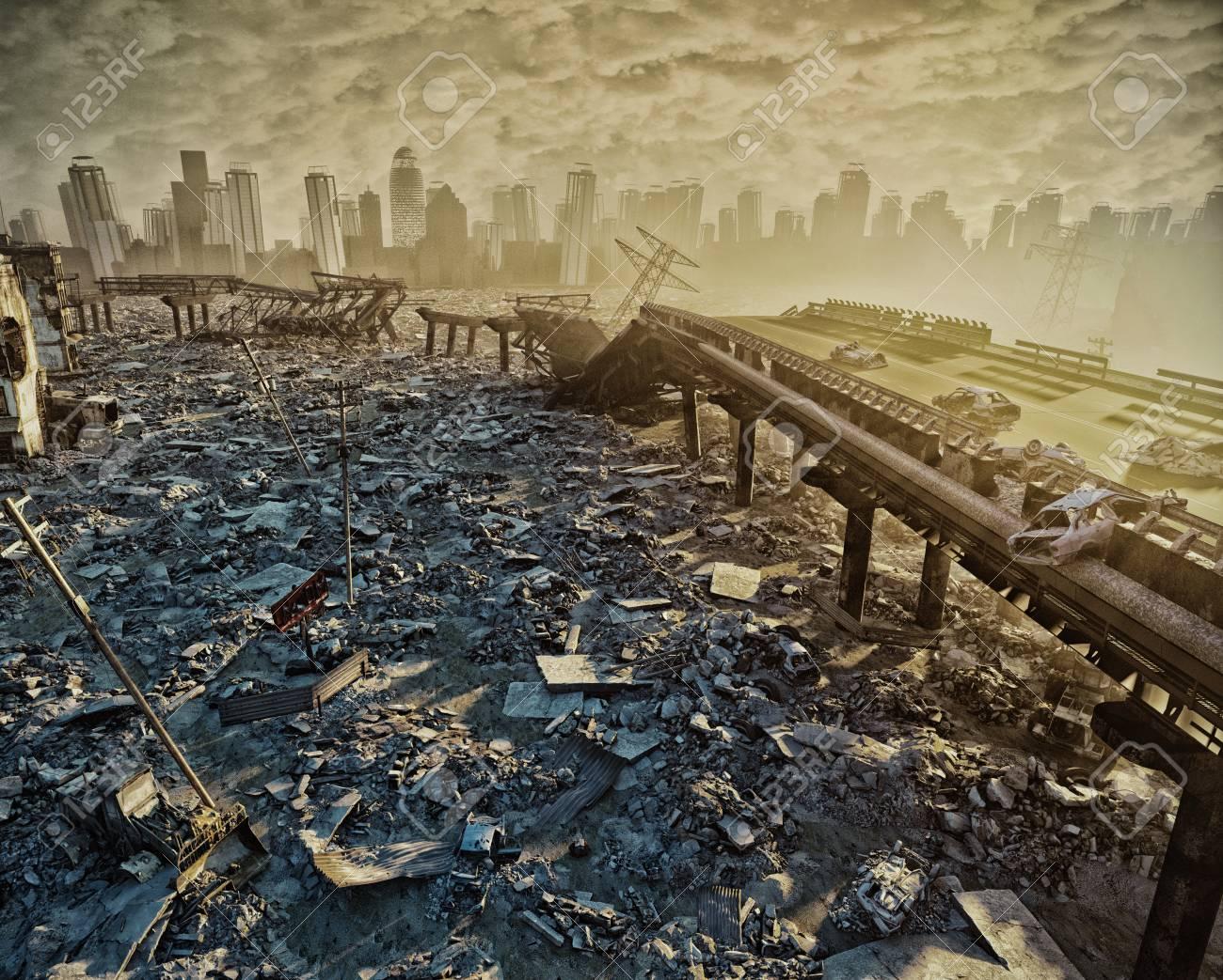 都市の遺跡。終末論的な Landscape.3d の図の概念 の写真素材・画像 ...