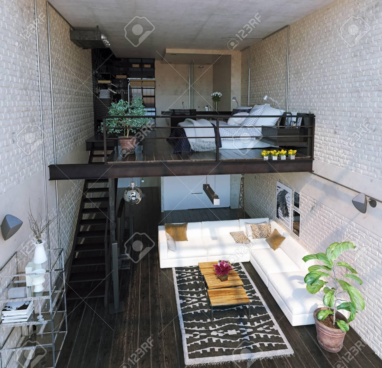 Design d\'intérieur loft moderne. Style contemporain Concept de rendu 3D