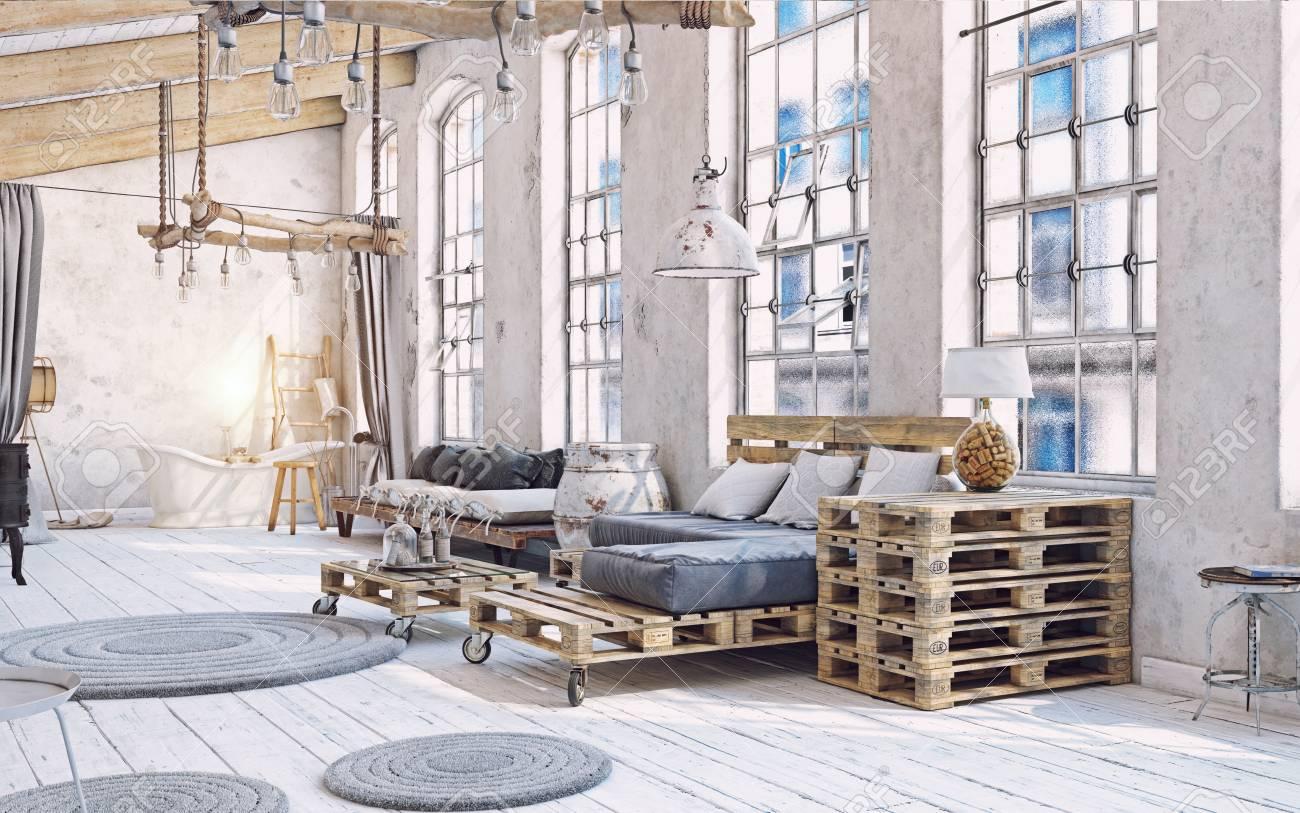 Dachboden Wohnzimmer Interieur Palettenmobel 3d Abbildung