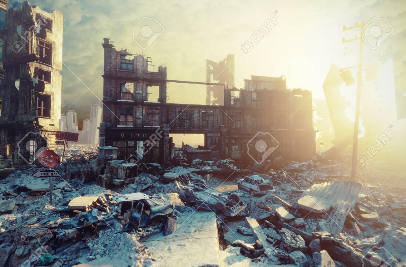 apocalyptic city sunset. Creative 3D illustration - 91243897