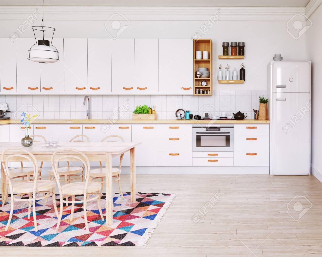 Moderne Kuche Interieur Skandinavischer Stil Design 3d Rendering