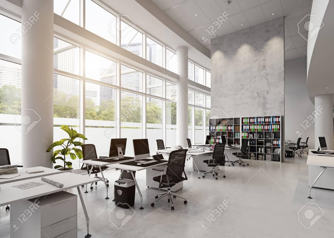 modern office building interior. 3d rendering concept - 93303667