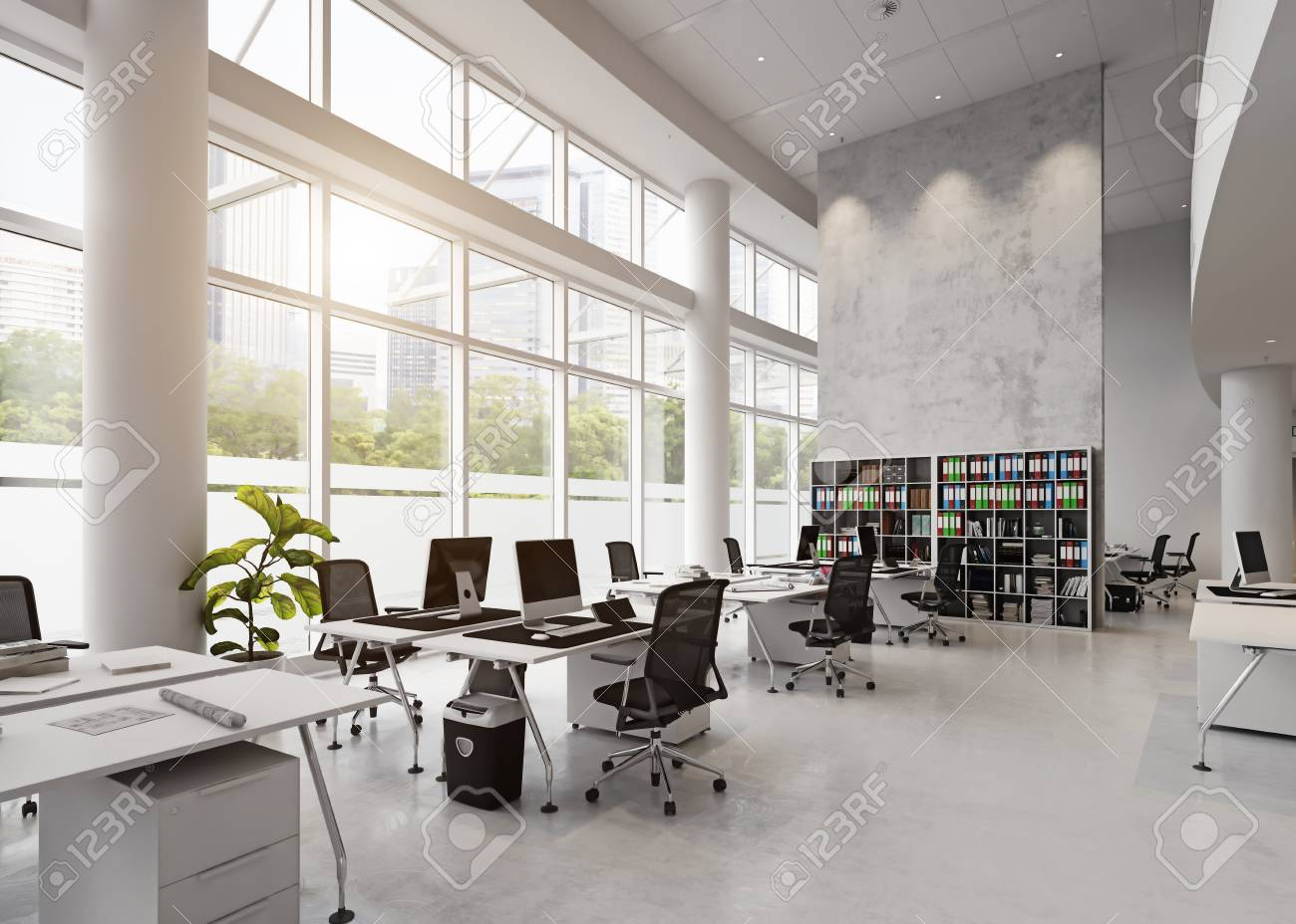 Modern Office Building Interior 3d Rendering Concept Stock Photo Picture And Royalty Free Image Image 93303667
