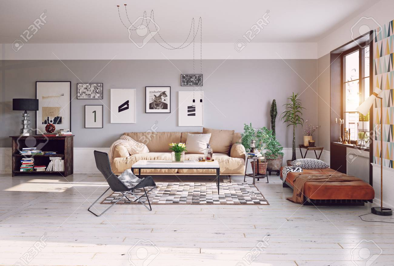 Salon de séjour moderne . rendu 3d