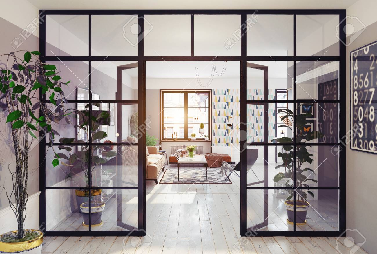 modern apartment interior. glass partition 3d concept - 96013721