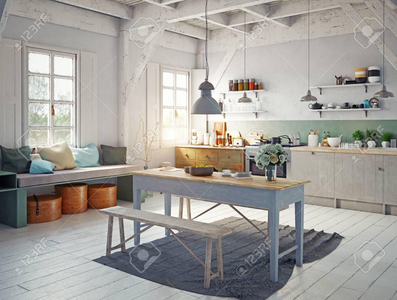 vintage style kitchen interior. 3d rendering concept design - 96013726