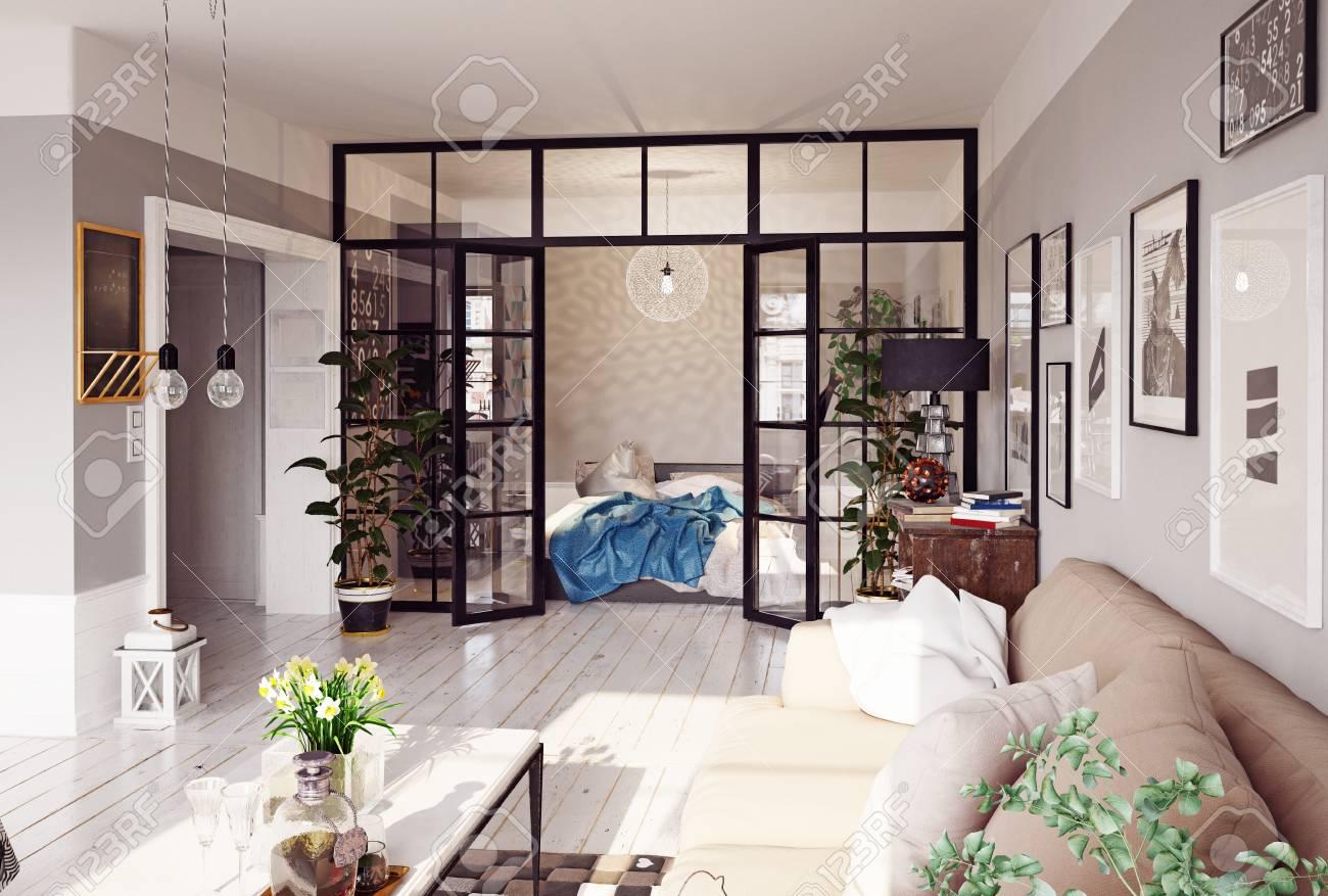 Modern apartment interior glass partition d concept stock photo