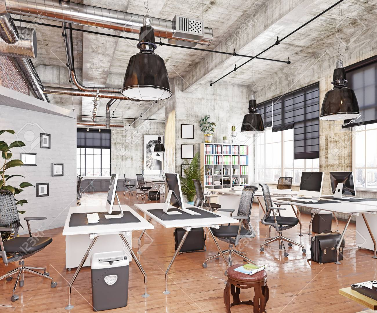 Loft office Modern Modern Coworking Loft Office 3d Rendering Concept Stock Photo 101766226 123rfcom Modern Coworking Loft Office 3d Rendering Concept Stock Photo