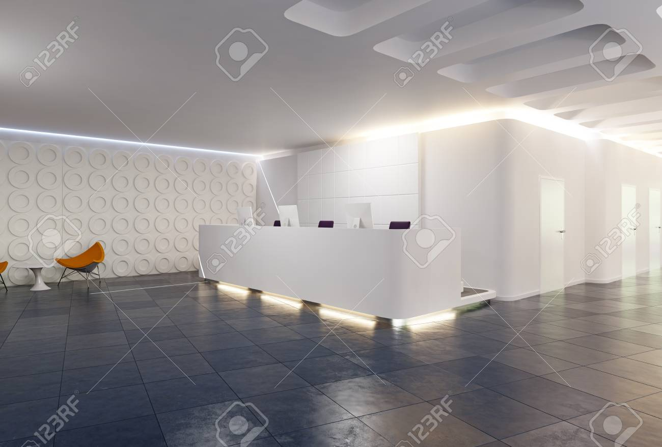 Modern Reception Desk Design 3d Rendering Concept Stock Photo Picture And Royalty Free Image Image 103969711