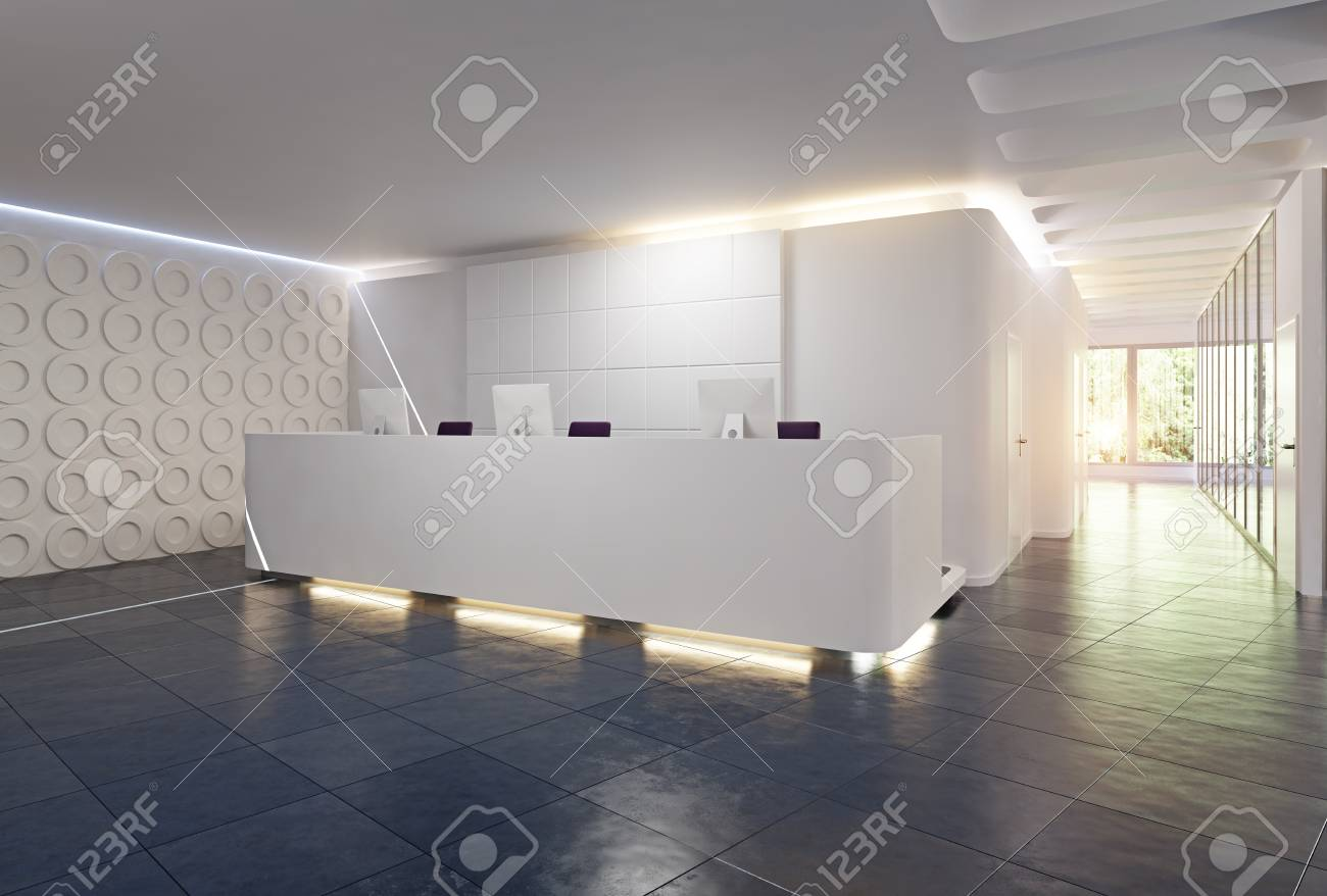 Modern Reception Desk Design 3d Rendering Concept Stock Photo Picture And Royalty Free Image Image 103989461