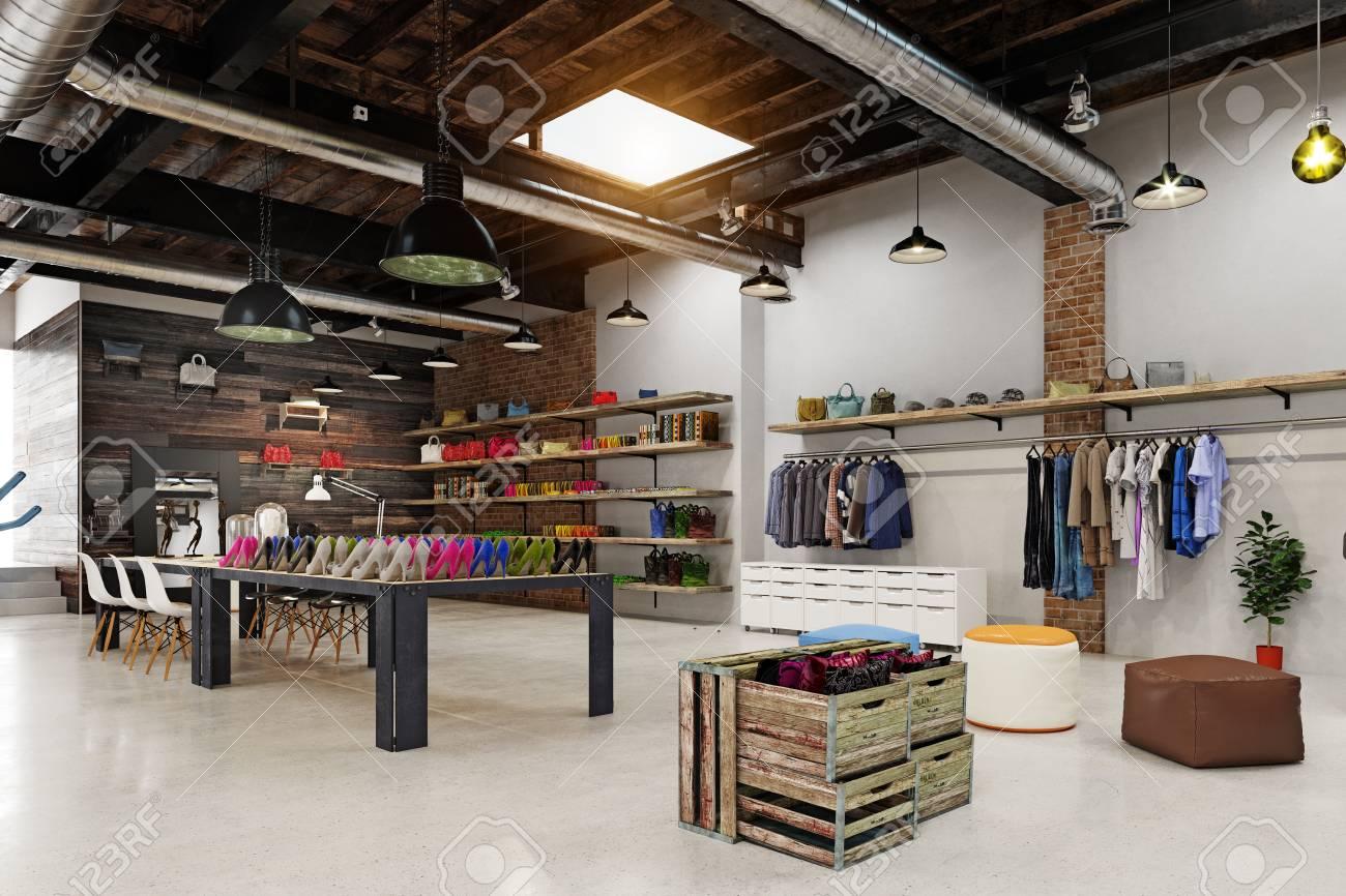 modern boutique interior loft design. 3d rendering - 107877202