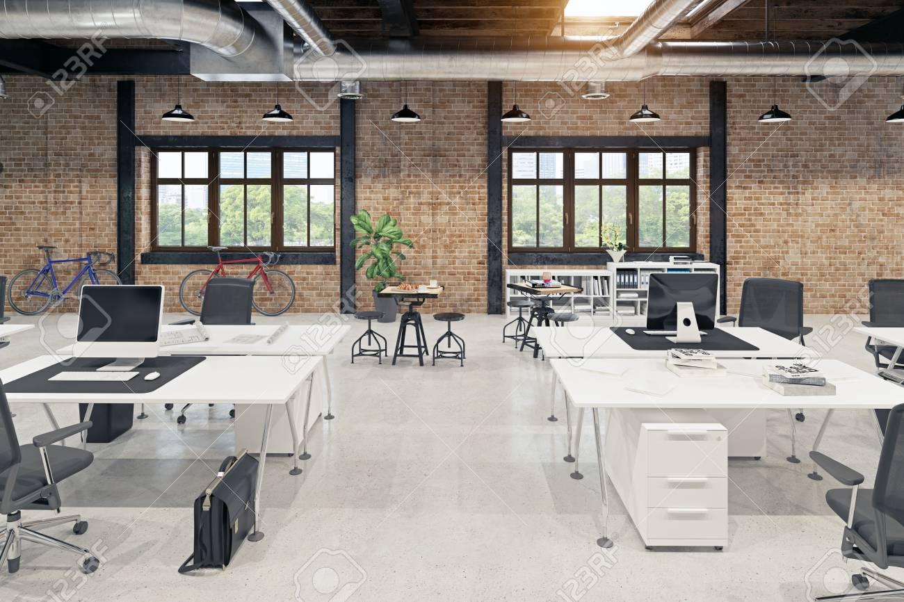 modern loft office interior. 3d rendering concept - 107877214