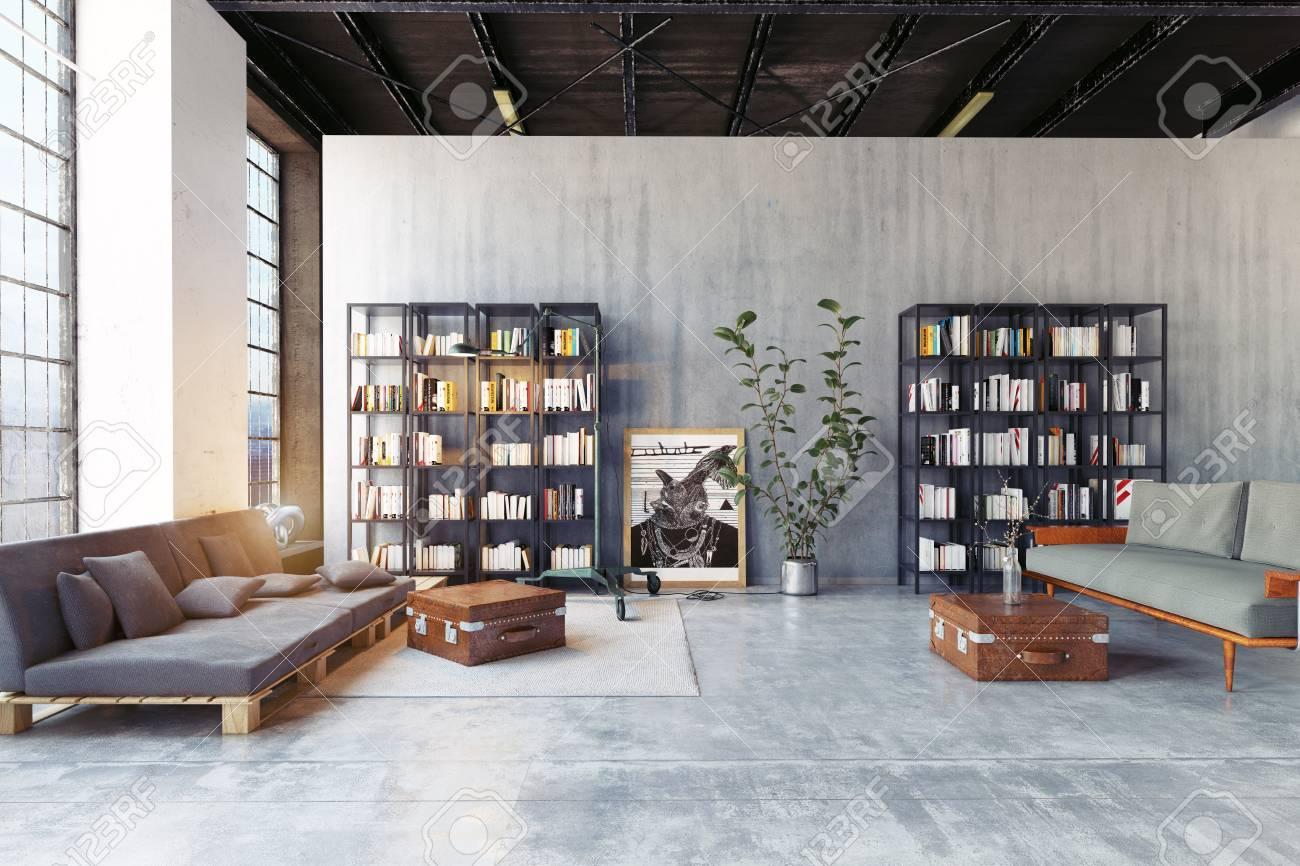 modern loft lving room. 3d rendering design concept - 107878349