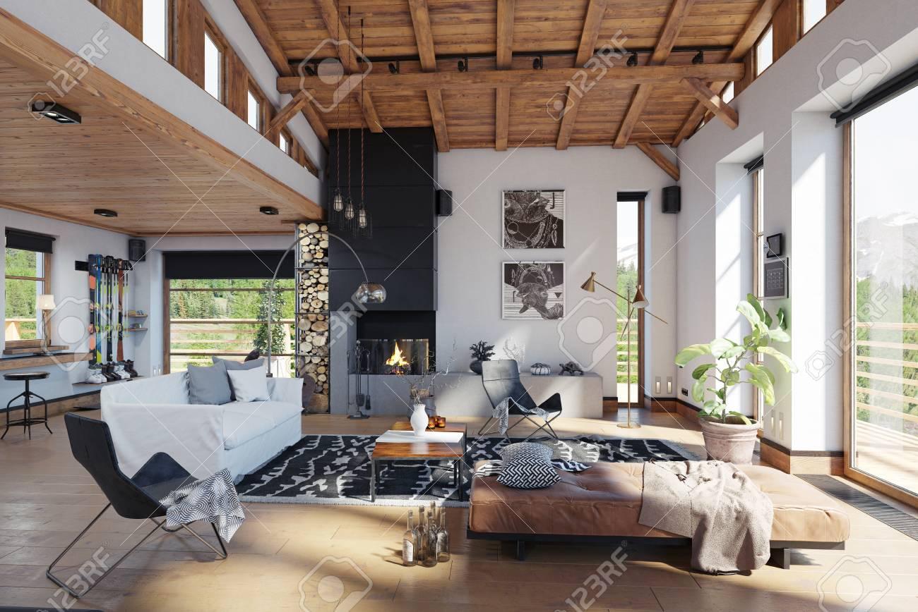 Modern chalet interior d rendering design concept lizenzfreie