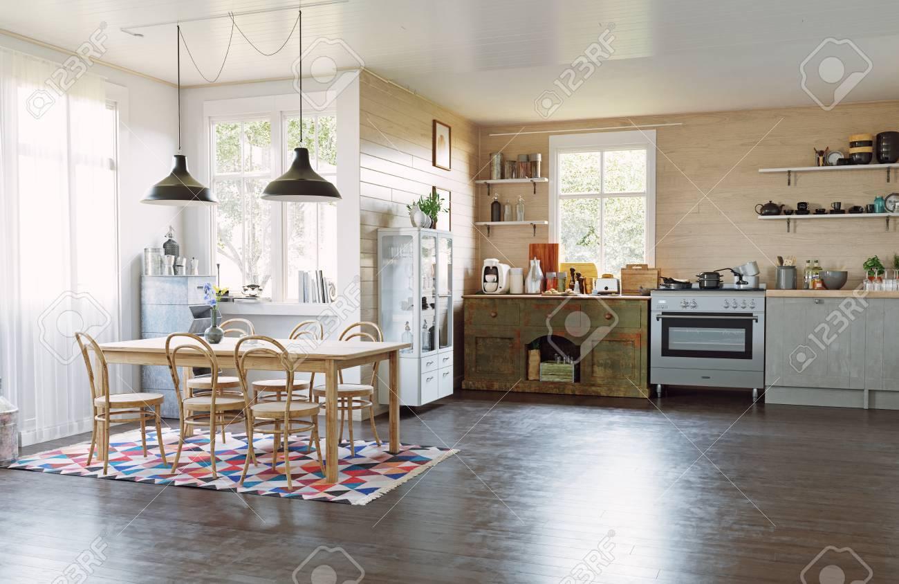 Modern country style kitchen interior.