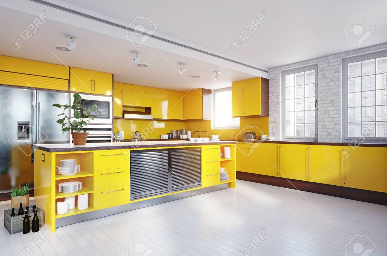 Modern yellow color kitchen interior. - 109772363