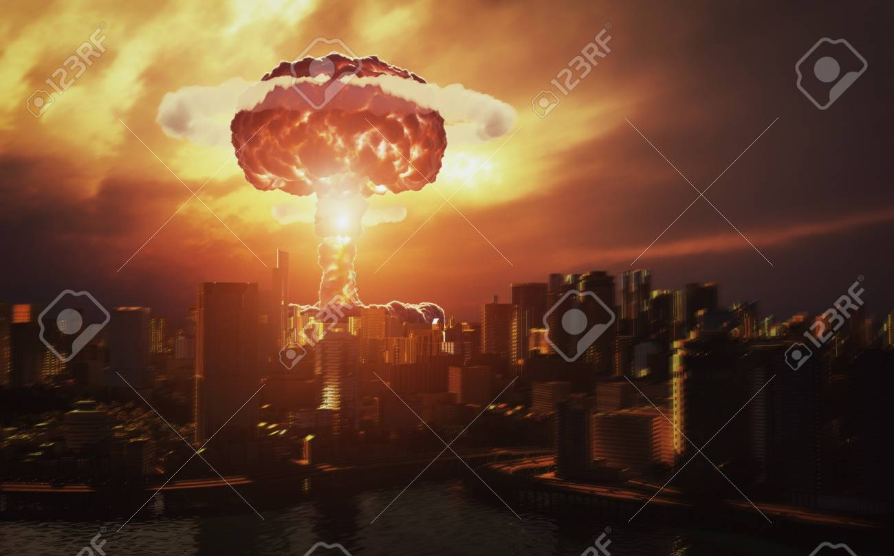 nuclear explosion over the city. 3d rendering concept - 109772373