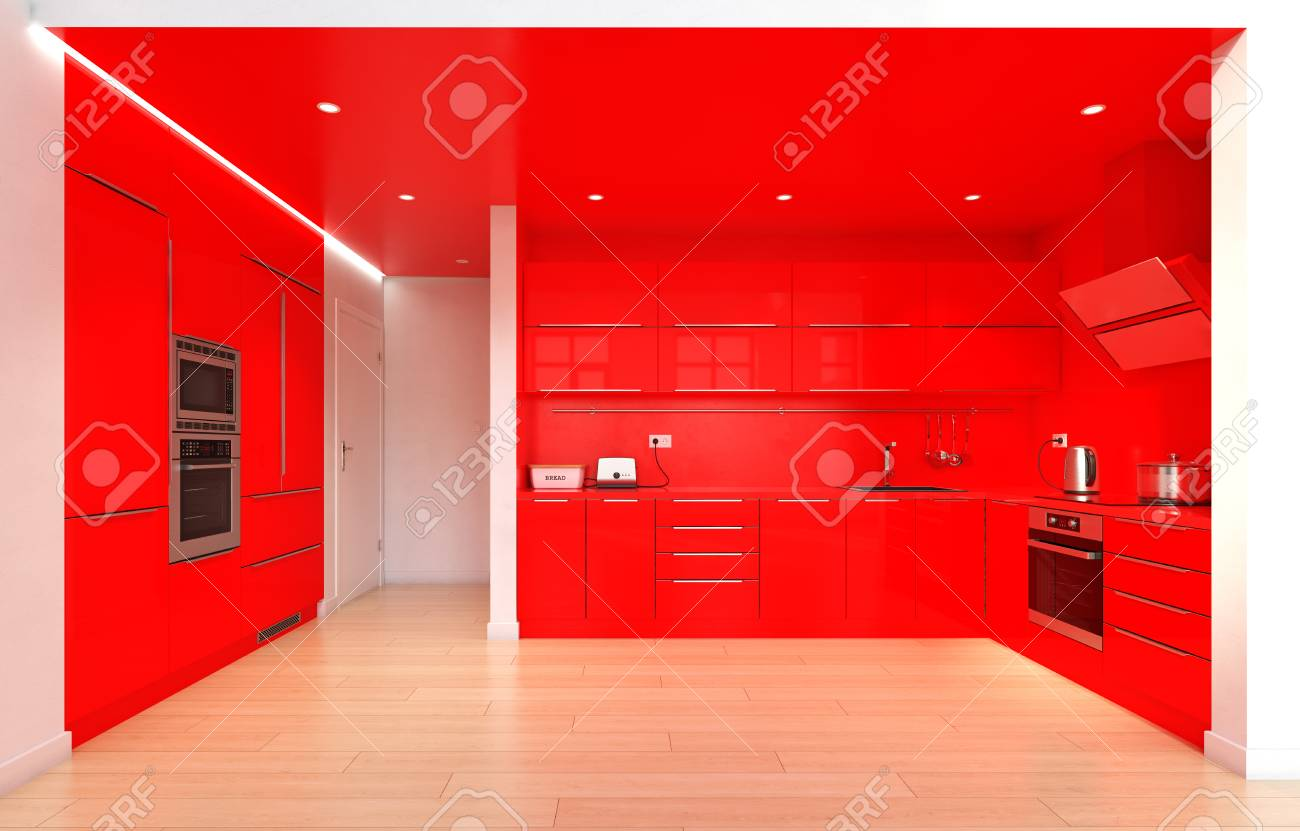 Modern Red Color Kitchen Interior 3d Rendering Design Concept Stock Photo Picture And Royalty Free Image Image 111427423