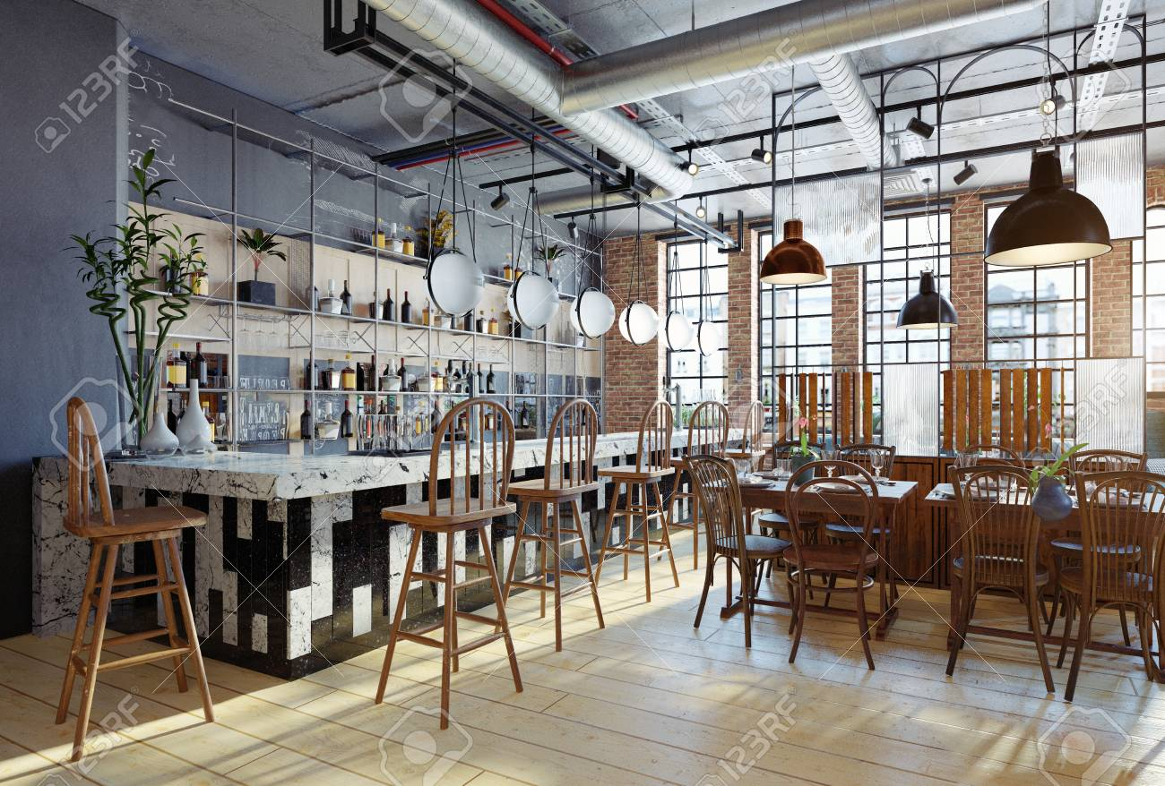 modern restaurant interior design. 3d rendering concept - 114214460