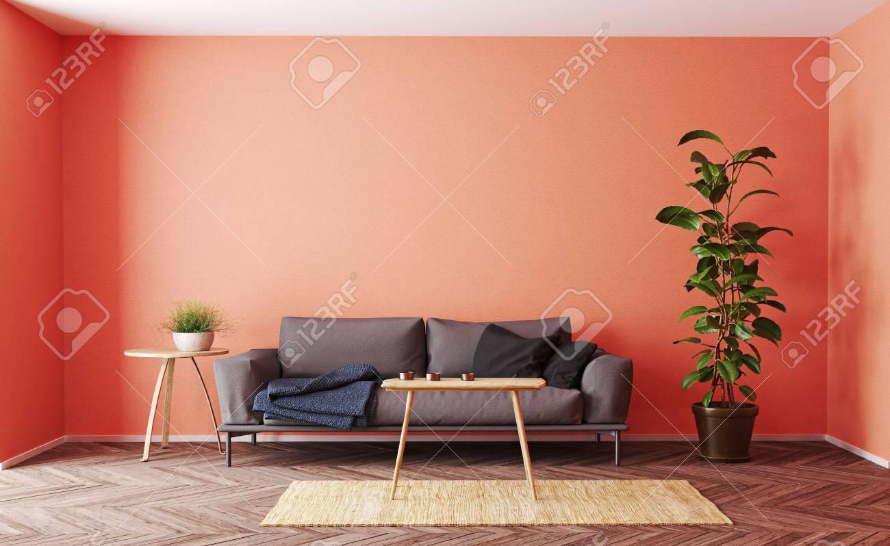 Modern living room interior design. 3d rendering living coral concept - 118191379