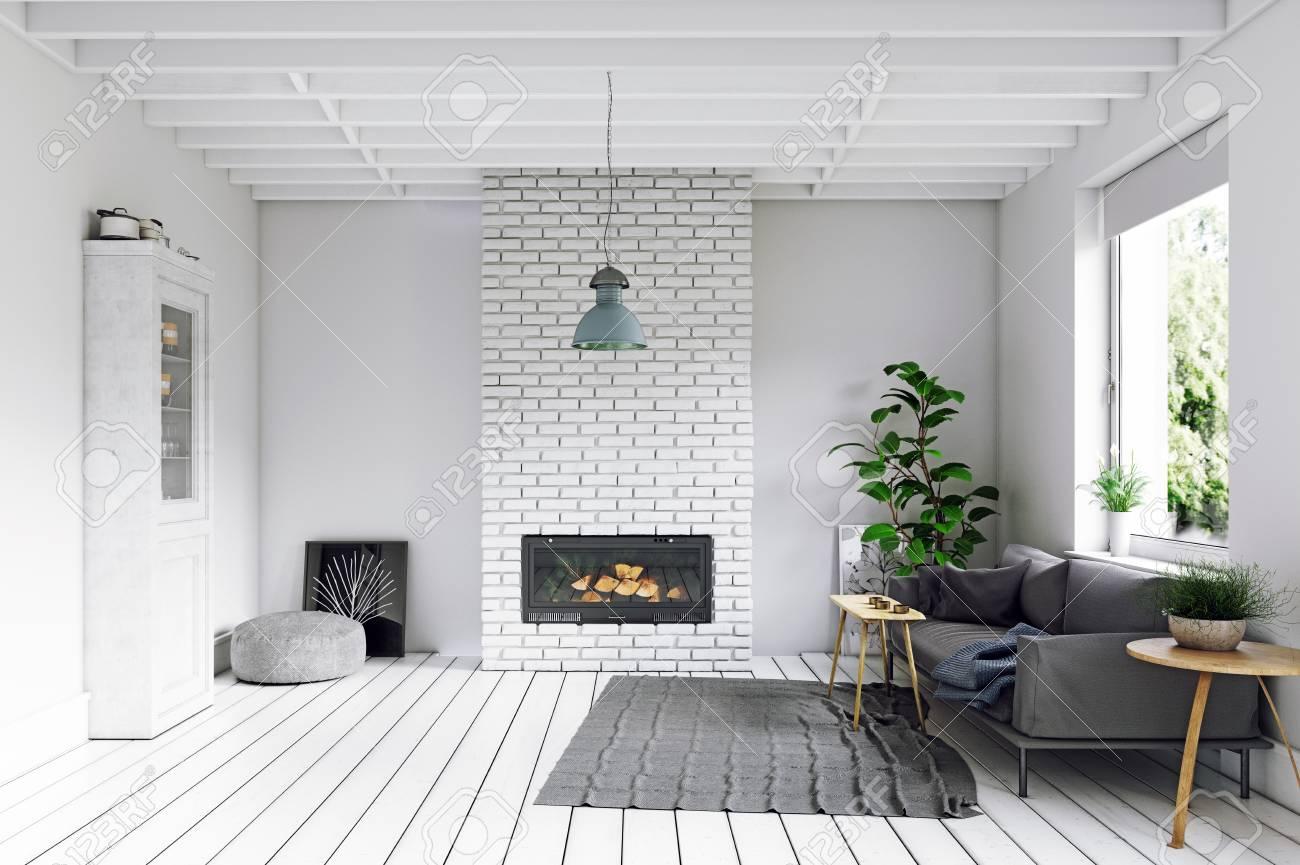 Modern Scandinavian style living room interior design.
