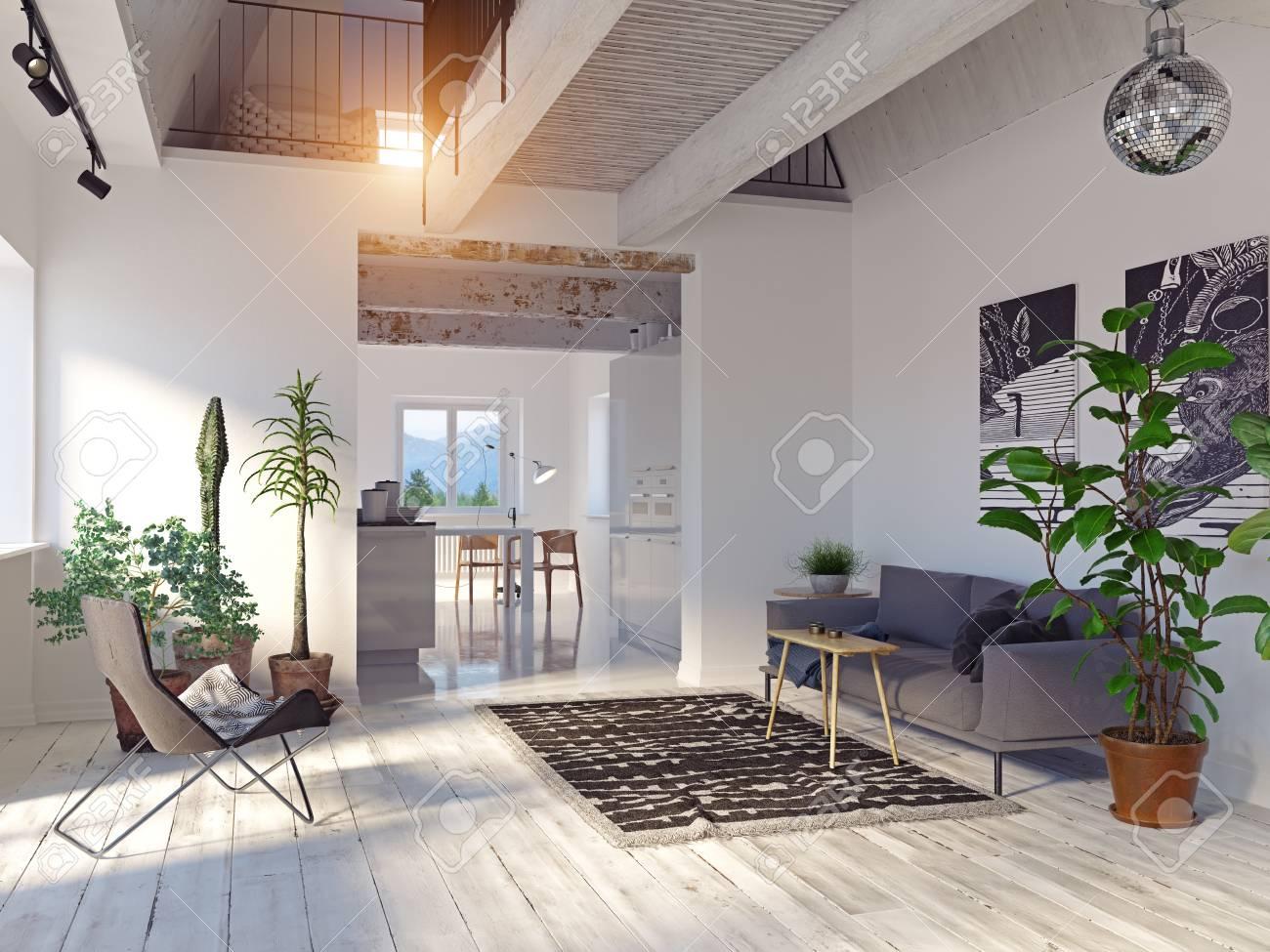 Modern house interior. Sofa and kitchen zone. - 121241182