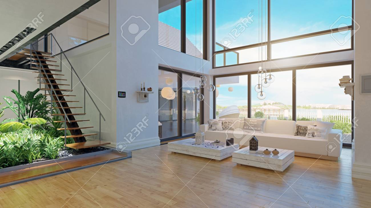 modern house interior design. 3d rendering project - 121376540