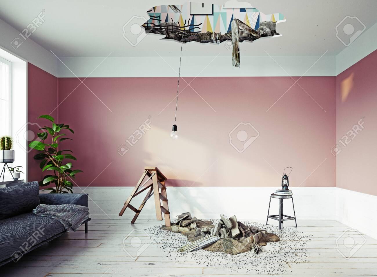 Broken ceiling in the room. - 127732998