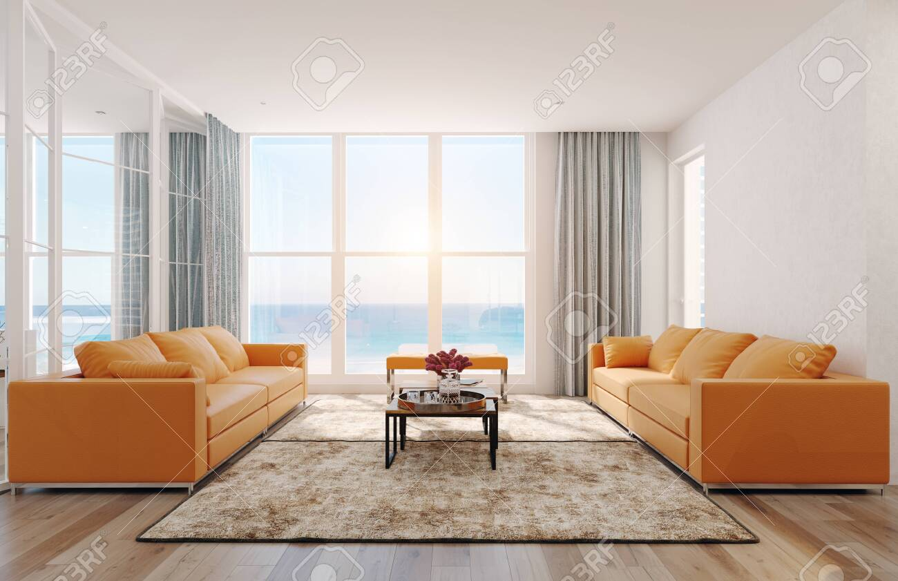 Modern sea view living room interior. 3d rendering design concept - 129272050