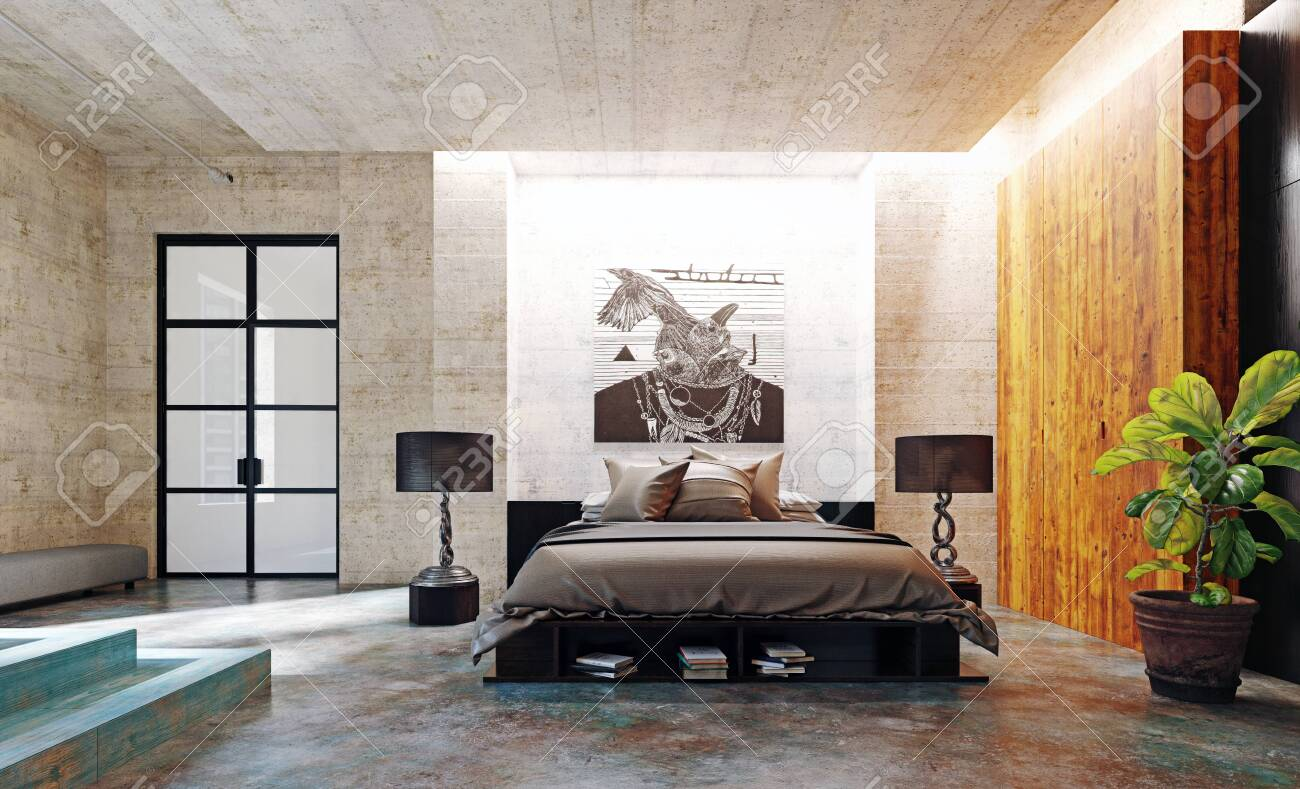 Modern Loft Bedroom Interior 3d Rendering Concept Stock Photo Picture And Royalty Free Image Image 137217373