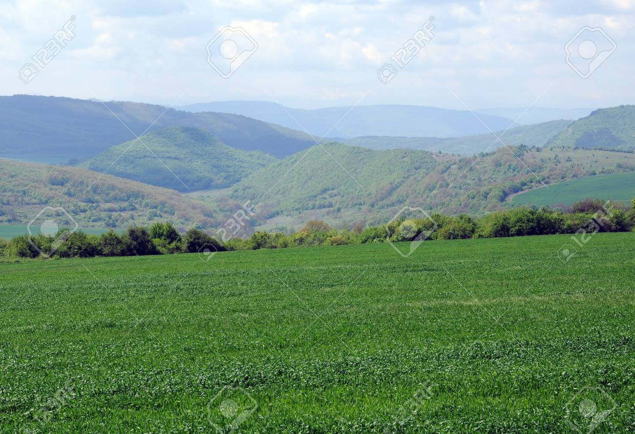 Meadow, green hills and clouded sky in Bulgaria Stock Photo - 9596220
