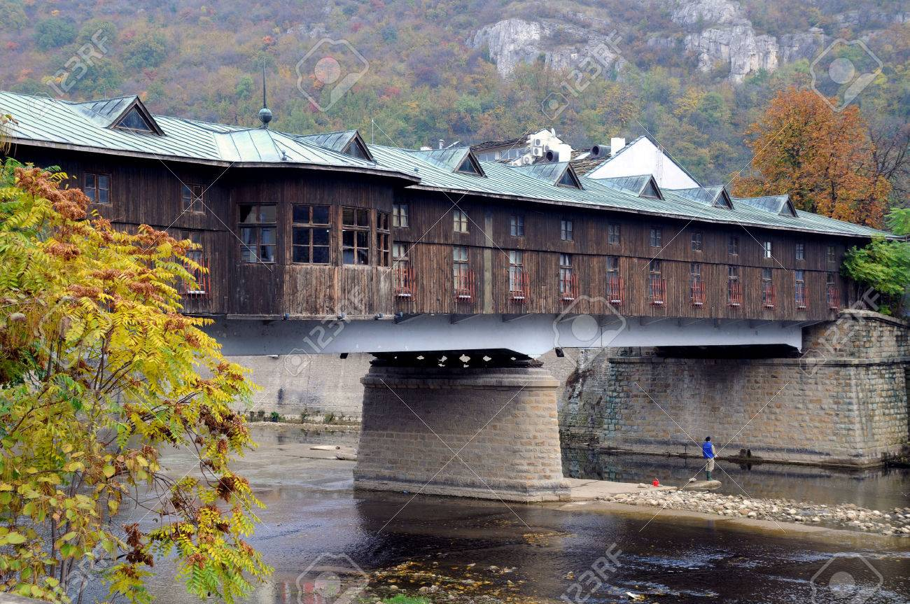 Covered Wooden Bridge In The Town Of Lovech In Bulgaria Over