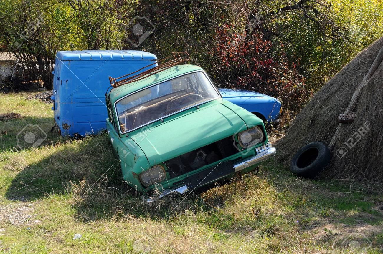 Abandoned Old Russian-made Cars In The Rural Area Stock Photo ...