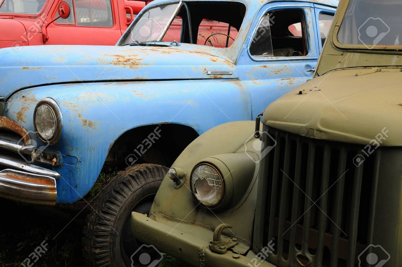Closeup Old Rusty Russian-made Cars In Russia Stock Photo, Picture ...