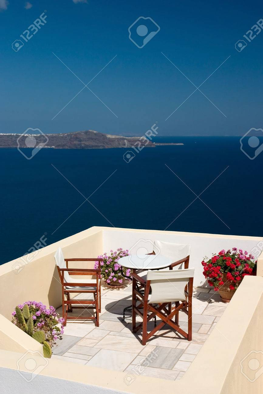 Beautiful view from balcony on the Santorini island - 1414733