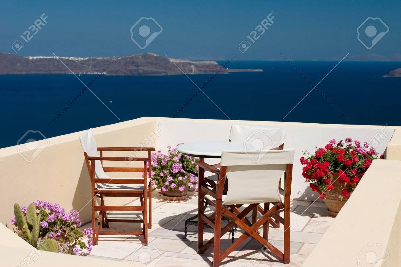 Beautiful view from balcony on the Santorini island - 1414736