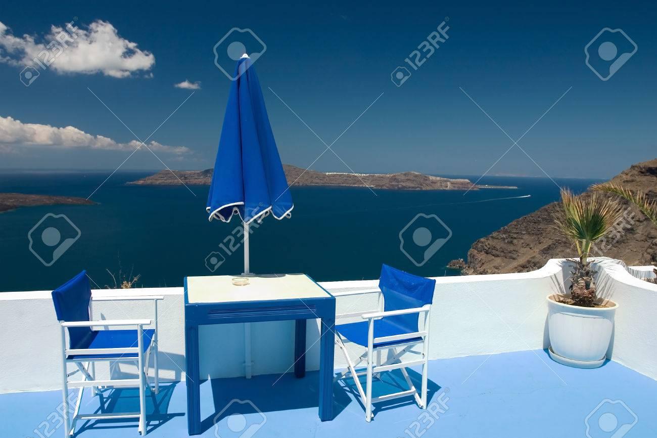 Beautiful view from balcony on the Santorini volcano - 1414735