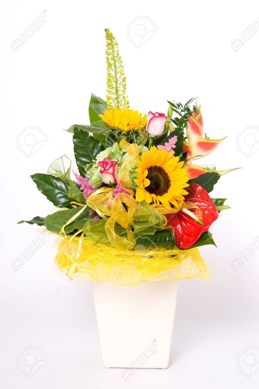 Flowerpot full of variety colorful flowers Stock Photo - 1414780