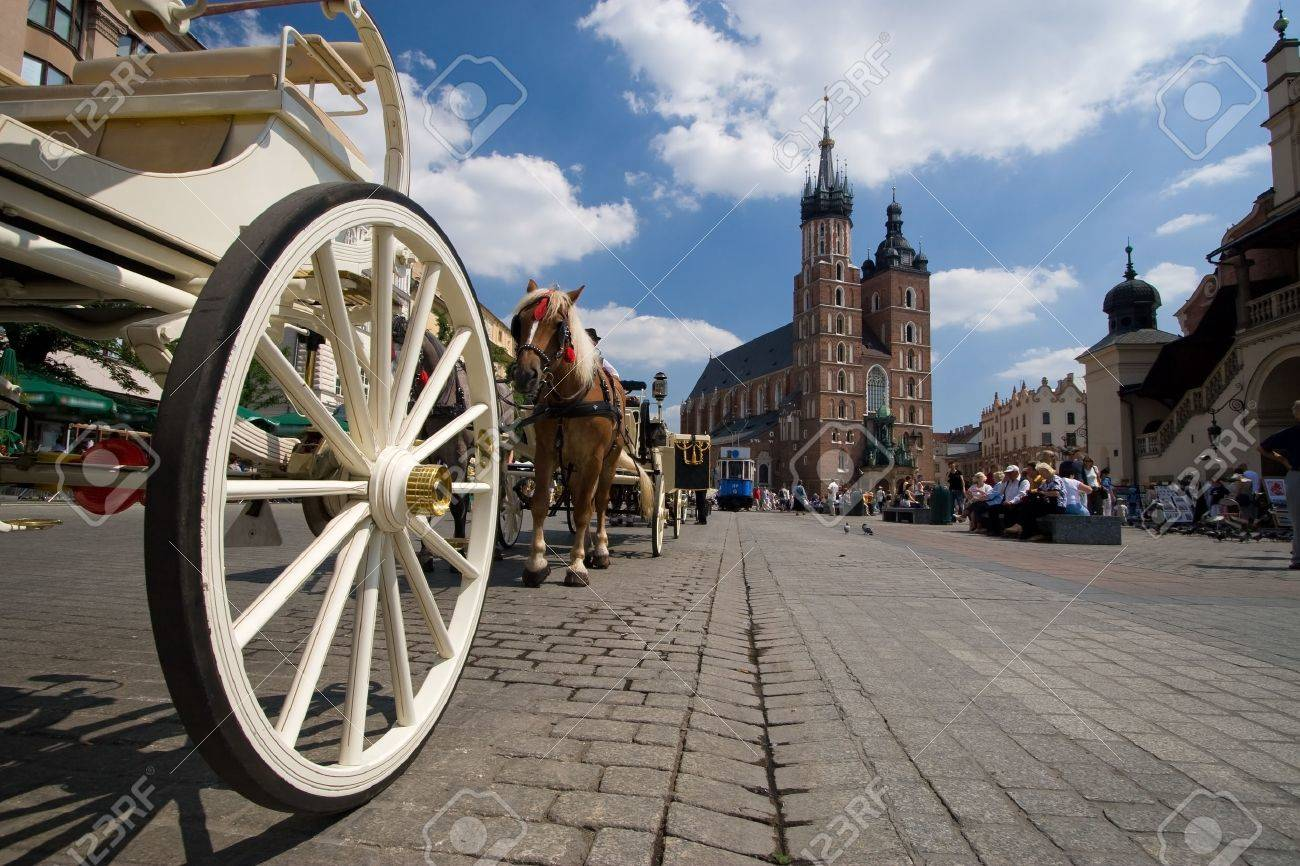 Beautiful summer view of Mariacki Church in Cracow, Poland - 1414802