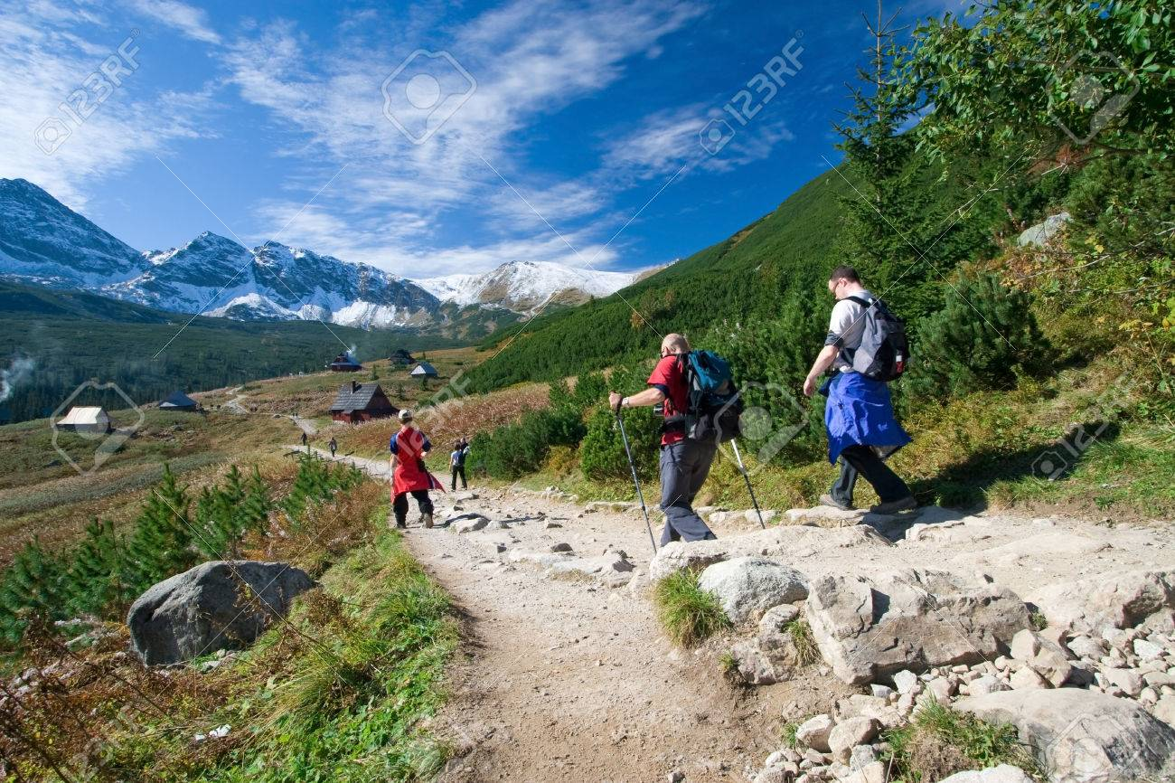 Group of people trekking in Tatra Mountains, Poland - 1727444